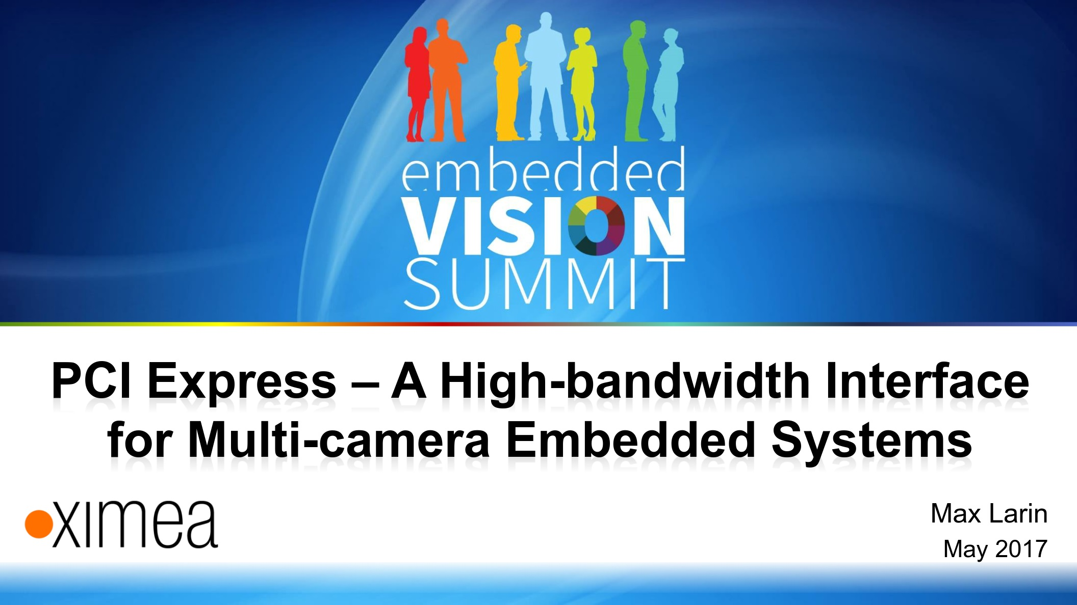 Embedded Vision Summit presentation cameras 2017 systems USB3 PCIe