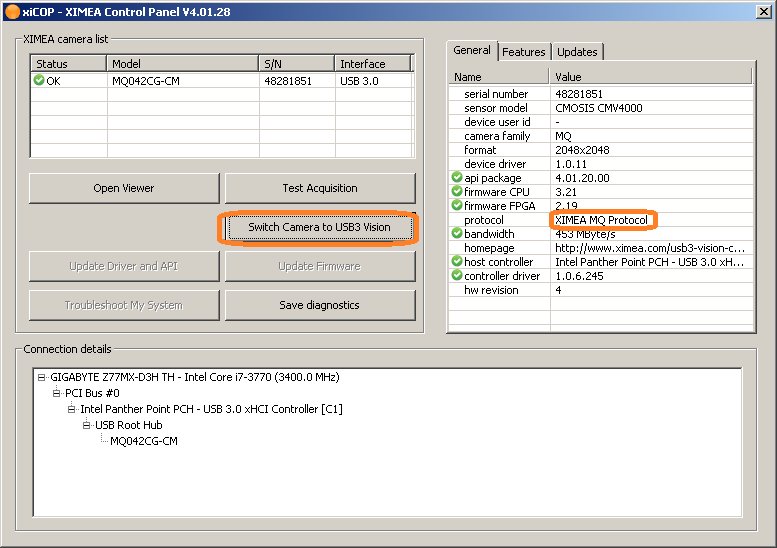 Switching Cameras to USB3 Vision Mode - USB3 - ximea support