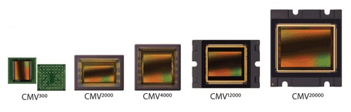 A picture illustrating five CMOS sensors on a white background