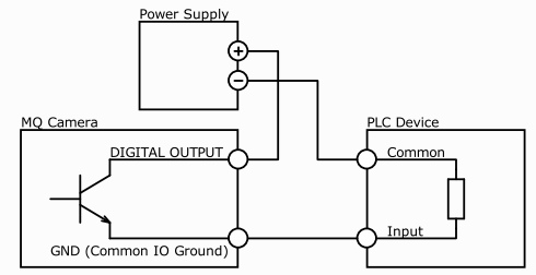 digital output wiring usb3 ximea support current relay wiring connecting digital output to a npn compatible plc device input (biased)¶