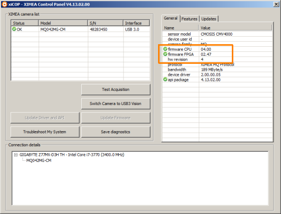 Checking the Camera Firmware and Hardware Revision with xiCOP - All